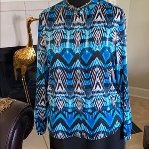 Sea blue in multi, long sleeves, button up!